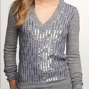J.Crew V-Neck Wool Sequin Sweater